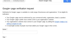 Google Plus Page Verification