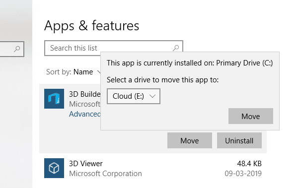 Move Apps in Windows 10