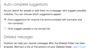 Outlook Deleted Messages Settings