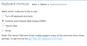 Outlook Keyboard Shortcut Settings