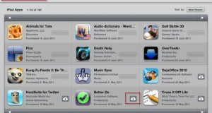 Purchased Apps List on iPad