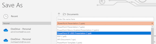 Save as 93-2007 PowerPoint Format