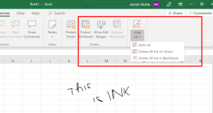 What is Show or Hide Ink in Excel/Word/PowerPoint (Office 365)