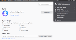 Sync Firefox between devices