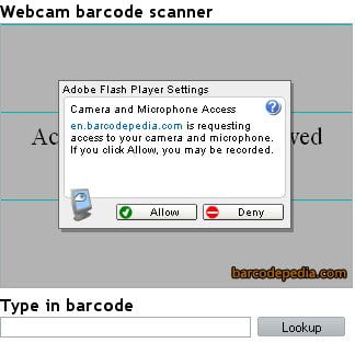 Webcam Bar code Scanner