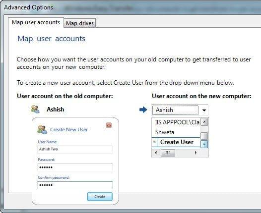 Windows 7 easy Transfer Map Accounts