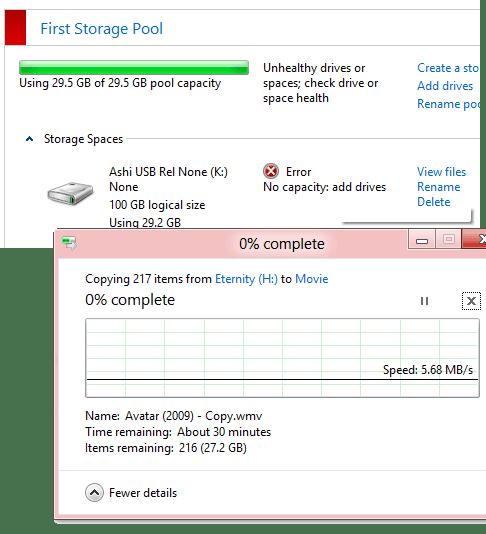 Zero Diskspace on Storage Stuck Copy process