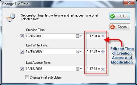 Advanced Change Time options