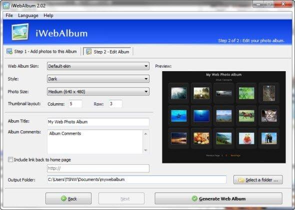 Choosing album settings, like, Album Skin, Style, Photo Size etc