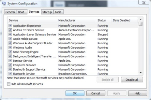 Disabling Services in Vista