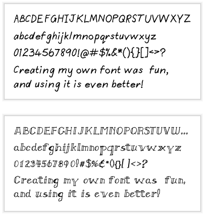 True type handwriting fonts samples