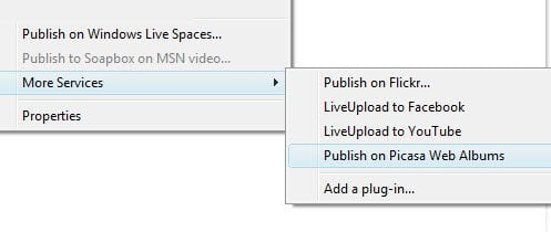 Windows Live photo gallery to Picasa Albums
