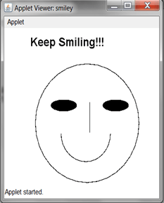 Applet program in java to draw a face