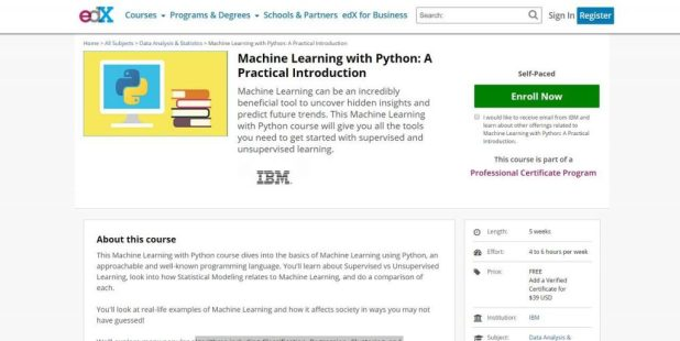 Machine learning with python course on EDX