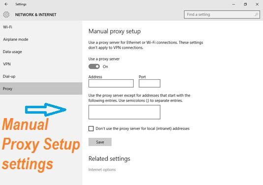 manual proxy setup settings in windows 10