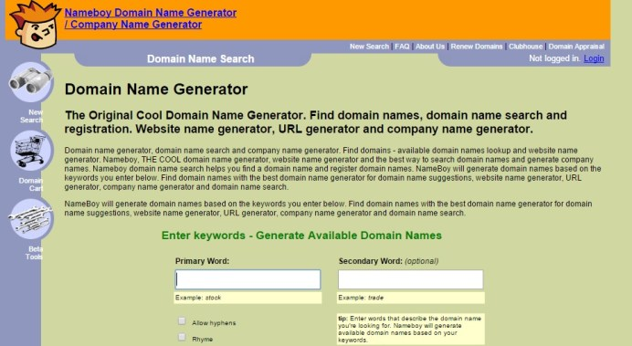 nameboy Tools for Picking the Perfect Domain Name