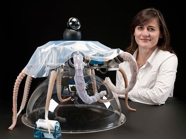 Cecilia Laschi exhibits a soft-bodied robotic octopus.