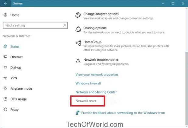 Reset Network Adapter on Windows 10