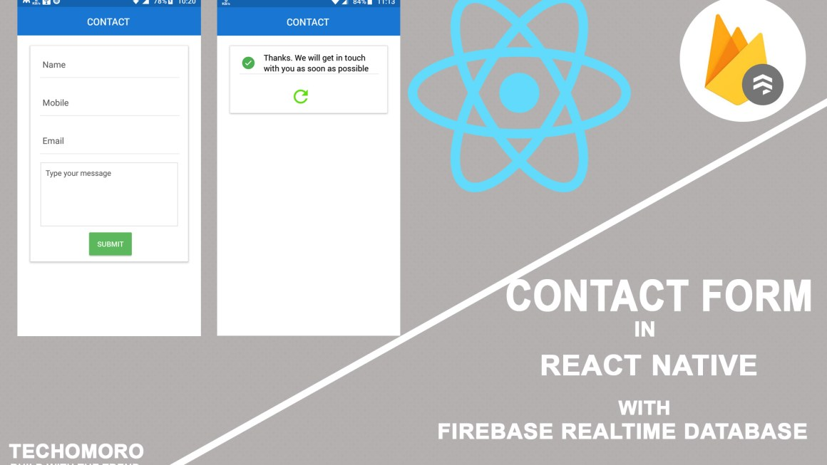 Simple Contact Form in React Native with Firebase Realtime