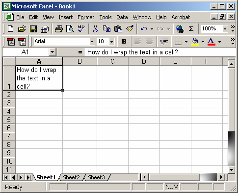 Ms Excel Wrap Text In A Cell