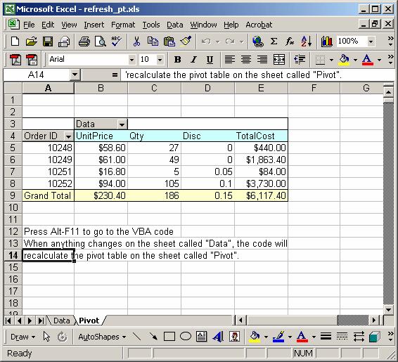Refresh Formula Excel Vba Ms Excel 2003 Automatically