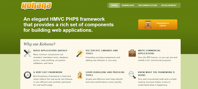 kohana best php framework for web development