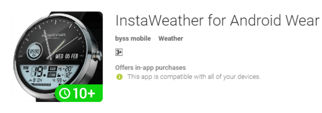 best android app instaweather for android wear