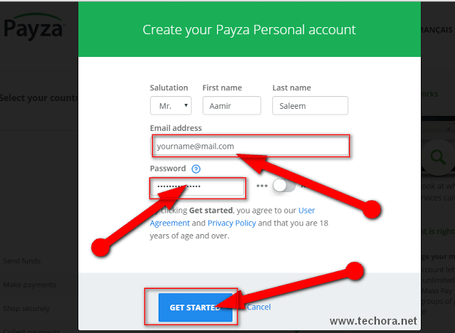 image of form filling of create verified payza account in pakistan and india