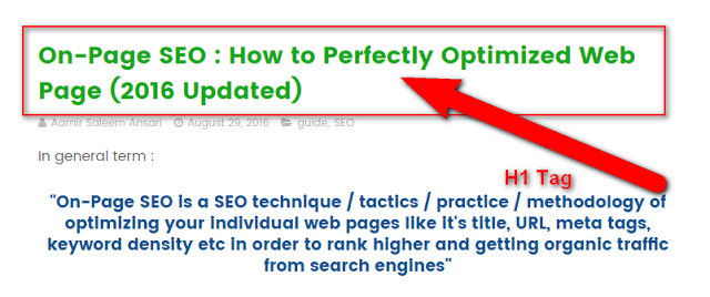 image : on page SEO factors to wrapped your post title in H1 tag