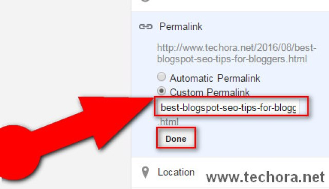 image about seo optimized blog post web address / URL or permalinks