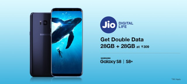 How To Get Samsung Double Data Offer with Jio 4G on Galaxy S8, S8+ & Tab S3