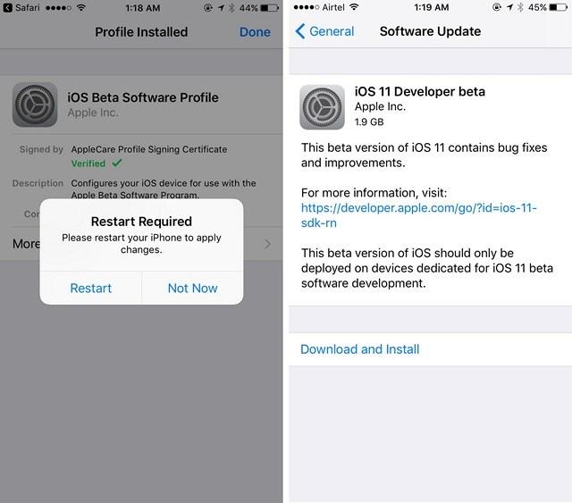 install ios 11 Beta