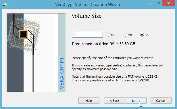 Set the volume size carefully