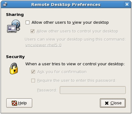 RHEL 5 Remote Desktop Access preferences