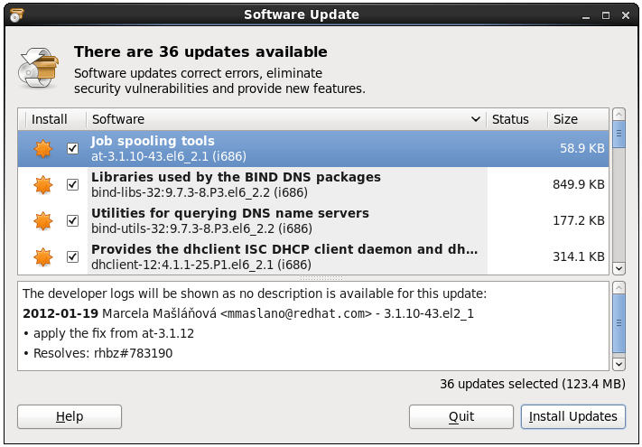 CentOS 6 Software Updates tool