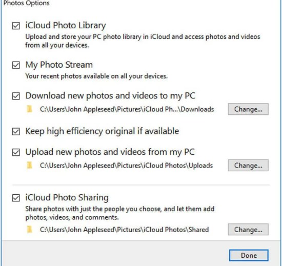Select Done option - How to Transfer Photos from iPhone to PC