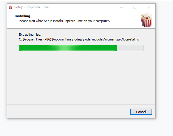 Popcorn time getting installed