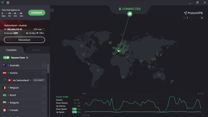 ProtonVPN dashboard