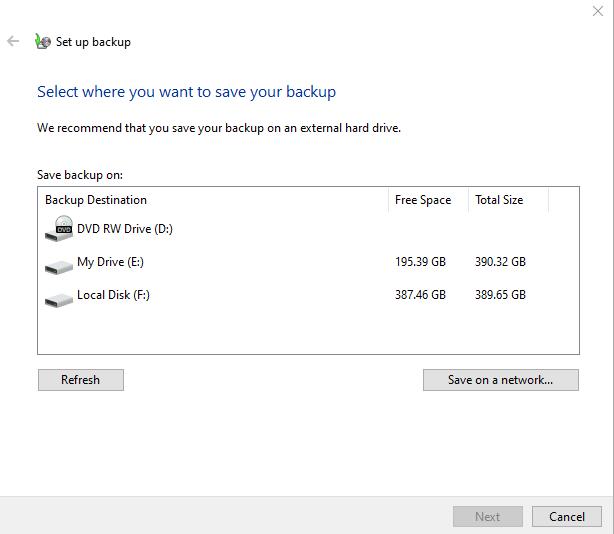 Backup Windows to External Disk