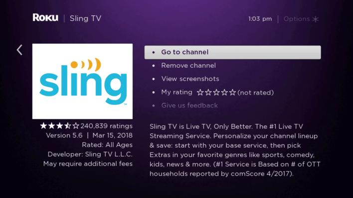 Install Sling TV on Roku