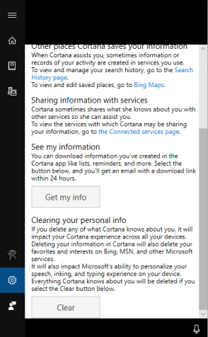 stop Cortana from saving search history