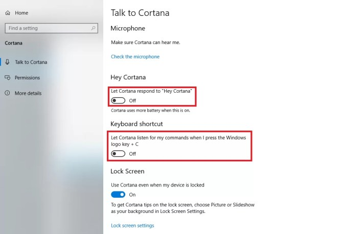 turn off cortana temporarily