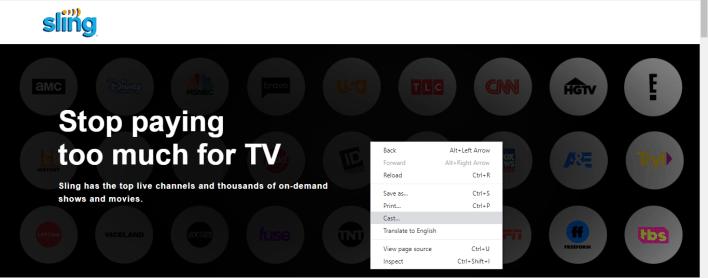 Chromecast Sling TV