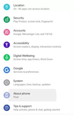 Hit About Phone option - How to Screen Record on Android