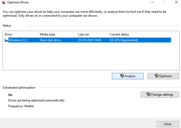 Make a Tap on Analyze button - How to Defragment Windows 10