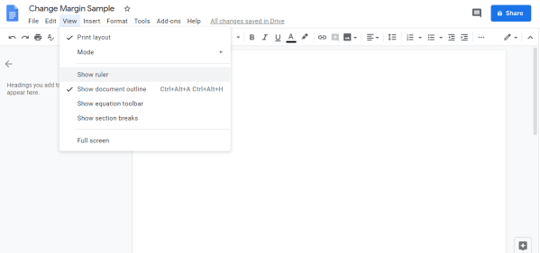 Select Show Ruler - How to Change Margins In Google Docs