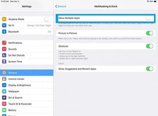 Toggle Off Multiple Apps - How to Get Rid of Split Screen on iPad