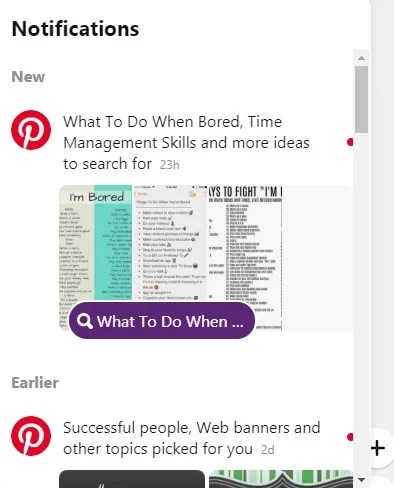 Pinterest notifications
