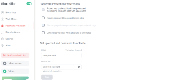 Choose Password Protection Preferences - How to Block Websites on Chrome
