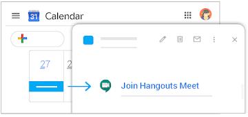 Join Hangouts Meet from Calendar